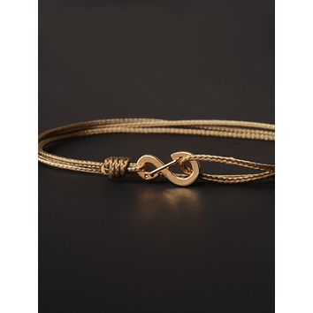 Infinity Bracelet - Taupe cord men's bracelet with gold clasp