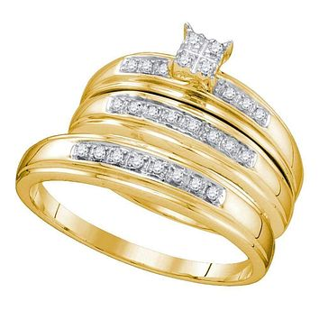 10kt Yellow Gold His & Hers Round Diamond Square Cluster Matching Bridal Wedding Ring Band Set 1/5 Cttw - FREE Shipping (US/CAN)