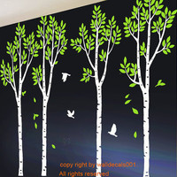 Wall Decals Wall stickers Birch Tree Decals Birds by walldecals001