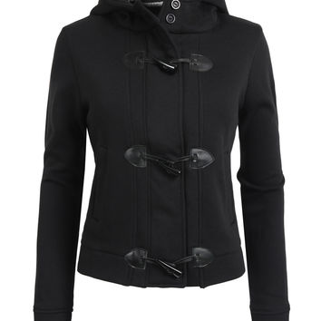 LE3NO Womens Double Breasted Knit Coat with Hoodie (CLEARANCE)