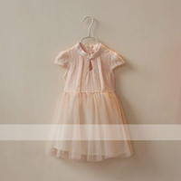 New Girls Children Short Sleeve Gauze Princess Dress 5 pcs/lot Kids Summer Girls Fashion Pure Color Gauze Dress