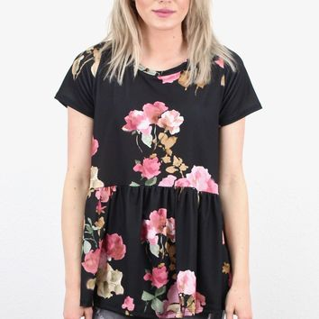 Fabulous Floral Peplum Swing Top {Black}