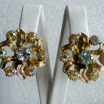 Vintage AB Rhinestone Pin Wheel Style Earring Clip On Estate Jewelry Silver Tone
