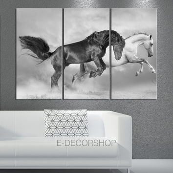Large Wall Art 3 Panels Canvas Print Wild Black and White Horses - Canvas Animal Wall Art - Horse Canvas
