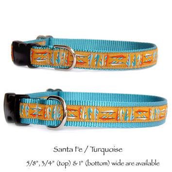 Santa Fe gold turquoise dog collar Southwestern dog collar Navajo dog collar Native American dog collar small dog collar Large dog collar