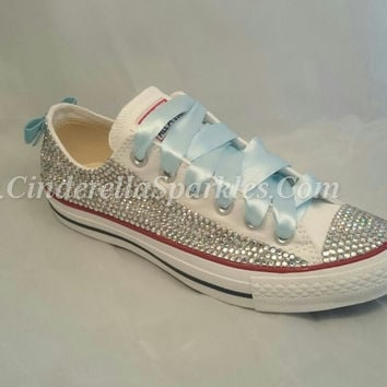 White Chuck Taylor Low Crystal Rhinestone Converse with sequin bow - Bridal  Prom Romany 87fe1bff0