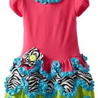 Rare Editions Little Girls' Toddler Drop Waist Dress, Fuchsia, 4T