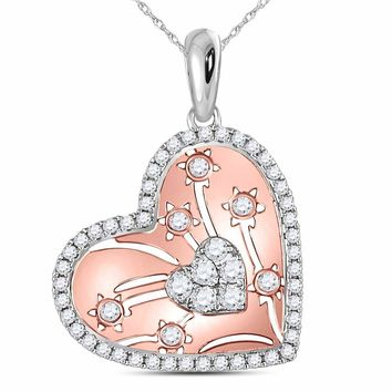 14kt Two-tone Gold Womens Round Diamond Heart Cluster Flowers Pendant 1/2 Cttw