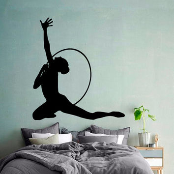 Wall Decals Girl Gymnast With A Hoop Sport Gymnastics People Home Vinyl Decal Sticker Kids Nursery Baby Room Decor kk504