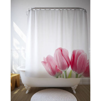 Pink Tulips Shower Curtain, Macro Photography, Bath Decor, Floral Bathroom