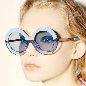Women Round Sunglasses Hollywood Pool Sea Blue Oversize Mirror Glasses