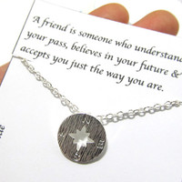"Dainty Compass Friendship Best Friend Necklace, "" A Friend is Someone Who"", Compass Necklace, Best Friend Friendship Gift Compass Necklace"