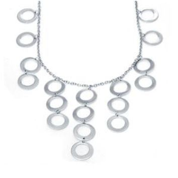 "Sterling Silver Fashion Circle Link Necklace with Toggle Clasp (16"")"