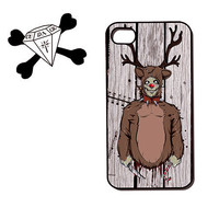 Christmas Holiday naughty Reindeer zombie on Wood Print iPhone Case, iPhone 5 Case, iPhone 4 Case , Plastic iPhone 4s case