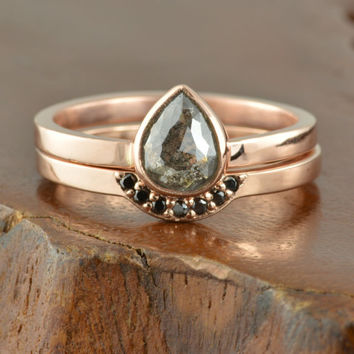 Black Diamond 14k Rose Gold Engagement Ring