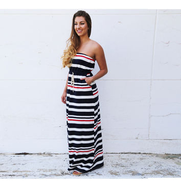 Summer Colorful One Piece Off Shoulder Long Dress
