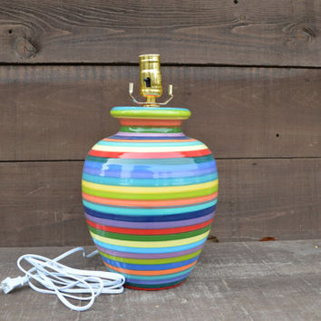 Bright Rainbow Striped Ceramic Lamp Base - Hand Painted Light - Shade Not Included