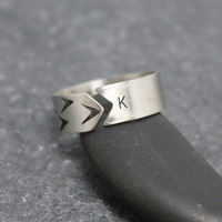 6mm ONE DIRECTION Ring, Band, Sterling, Silver, Arrow, Chevron, Initial, Customized, Personalized, Stamping, Custom Text