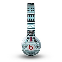 The Vector Blue & Black Aztec Pattern V2 Skin for the Beats by Dre Mixr Headphones