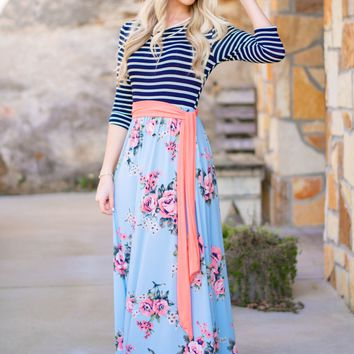 Rosy Floral Striped Maxi Dress
