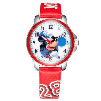 Disney brand Quartz Leather Mickey Mouse Watch.  Comes in 3 Colors.