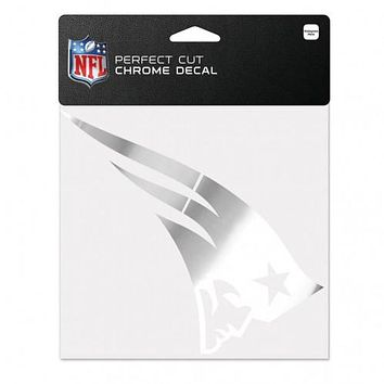 New England Patriots Decal 6x6 Perfect Cut Chrome