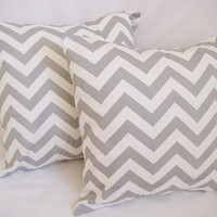 BOGO Sale - 2 Chevron Decorative Pillow Covers Storm Grey and White - 16 x 16 inches Throw Pillow Cushion Cover Accent Pillow
