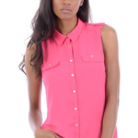 Sleeveless Pink Chiffon Shirt