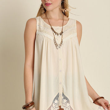 Cream Button Down Sleeveless Blouse