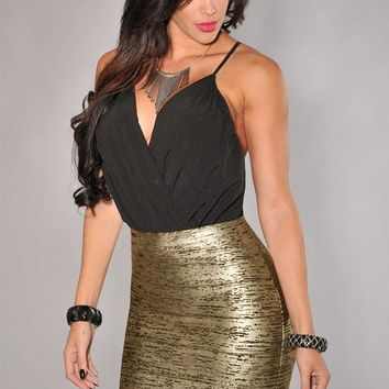 Soft Black Gold Foil Bandage Skirt