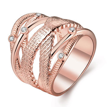 Rose Gold Plated Spiral Tree Branch Design Ring