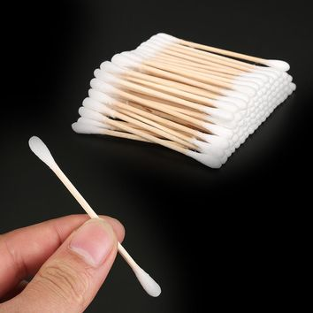 100pcs Women Beauty Makeup 100% Cotton Swab Cotton Buds Make Up Double-head Wood Sticks Nose Ears Cleaning Cosmetics Health Care