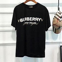 BURBERRY Fashionable Couple Leisure Print Cotton T-Shirt Top Blouse Black