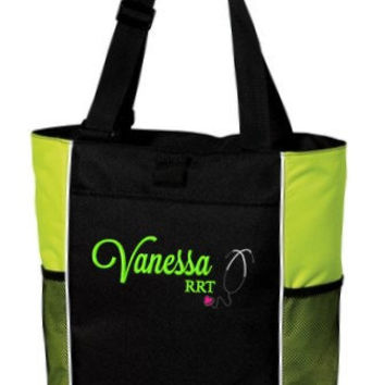 Personalized Monogrammed Nurse Tote Bag Handbag Student Graduate Respiratory Therapist Rt   RN CNA