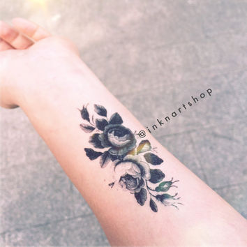 2pcs Wild Peony drawing flower floral illustration tiny tattoo - InknArt Temporary Tattoo - wrist quote sticker fake tattoo tattoo small