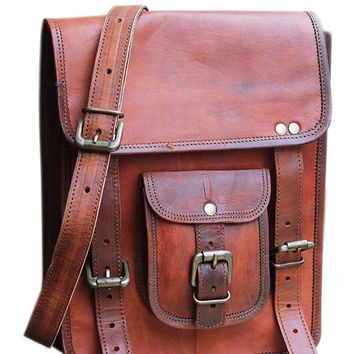 """IN-INDIA Durable Pure Leather Vintage Rustic Messenger Satchel Stylish Bag- Fits 13.3"""" Laptops"""