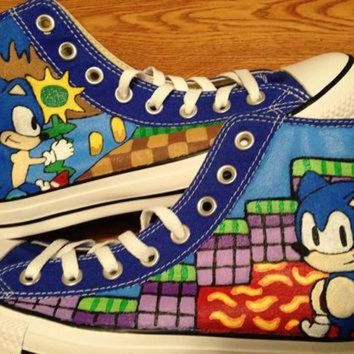 CREYONB Sonic Hand Painted Converse Shoes