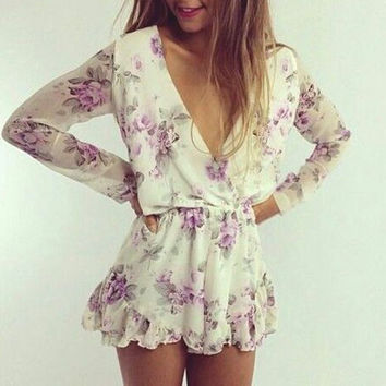 V-neck printing Fashion jumpsuit rompers