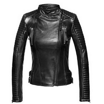 Leather Soft Zipper Motorcycle Jacket