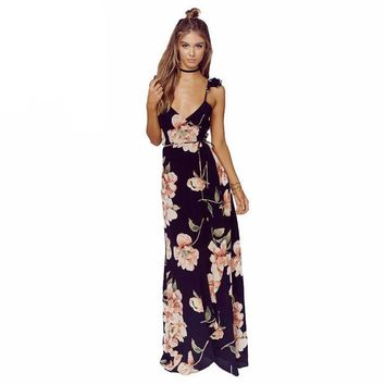 LMFOK2 Floral Print  Backless Split Maxi Plunge Neck  Boho Dress