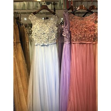 Floral Red Prom Dress Long Baby Blue Evening Dresses Style Pink Lace Gowns Tulle Vestidos Elegant Party Formal Gown Dress GT88