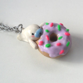 Kawaii Mamegoma Eating a Donut Necklace