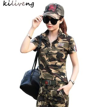 Kiliveng 2017 New Arrival Real Camouflage Women T-shirts Cotton Knitted Stand Print Appliques Regular Tops Unicorn Blusa L6020