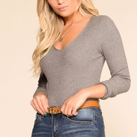 Charmer Grey Ribbed V-Neck Top