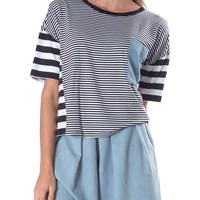 Venturing Out Stripe Crop Top - Black/White