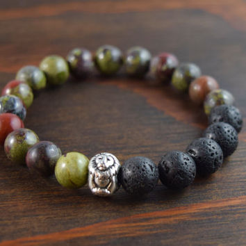 Bloodstone Bracelet. Lava Stone Bracelet. Lion Bracelet. Men's Gift. Men's Beaded Bracelet. Christmas Gift for Men. Lotus and Lava Bracelet.