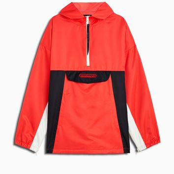 anorak windbreaker / red + black + ivory