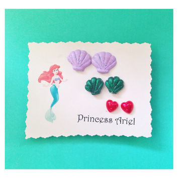 Handmade Princess Ariel Red Heart Disney Themed Earring Set The Little Mermaid Cosplay Costume