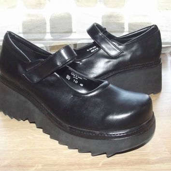 Vintage 90s MONSTER Platform Mary Jane Wedge Shoes Sz 10 Creepers Babydoll Goth Chunky
