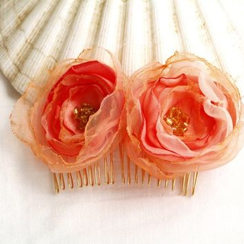 Peach Flower Hair Comb, Silk Flowers, Light Coral, Bridal Headpiece, Pink Salmon, Floral Hair piece, Gift for Her, Organza Flowers for hair